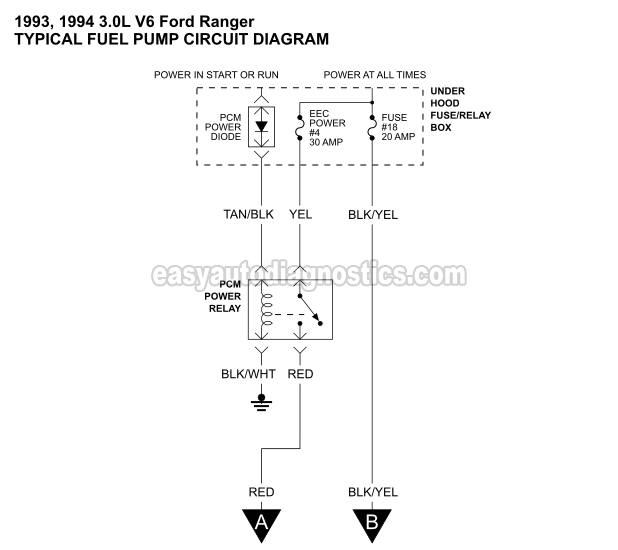 Part 1 19931994    3      0L    V6 Ranger Fuel Pump Circuit    Diagram