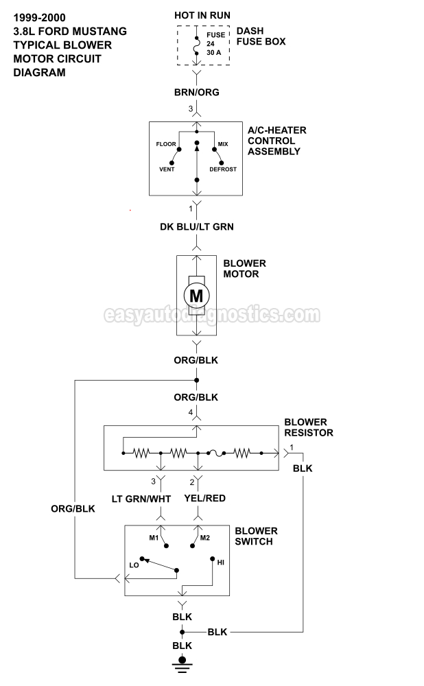 Blower Motor Wiring Diagram  1999