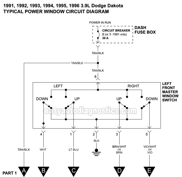 Power Window Circuit Wiring Diagram (1991-1996 3.9L Dodge Dakota)easyautodiagnostics.com