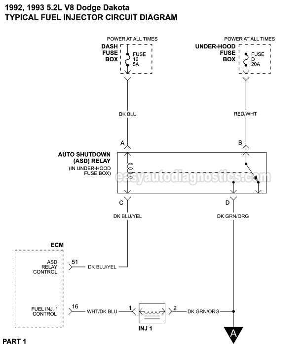 Fuel Injector Circuit Diagram  1992