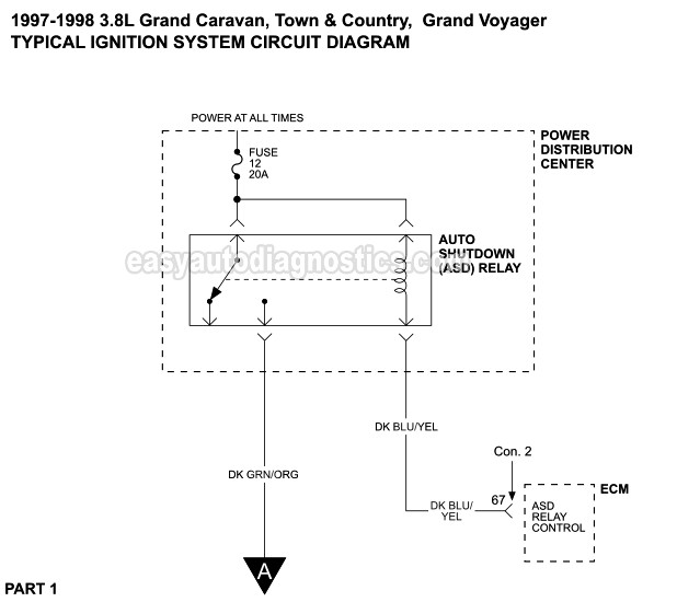 Ignition System Circuit Diagram 1996 1997 3 8l Chrysler Dodge Plymouth Mini Van