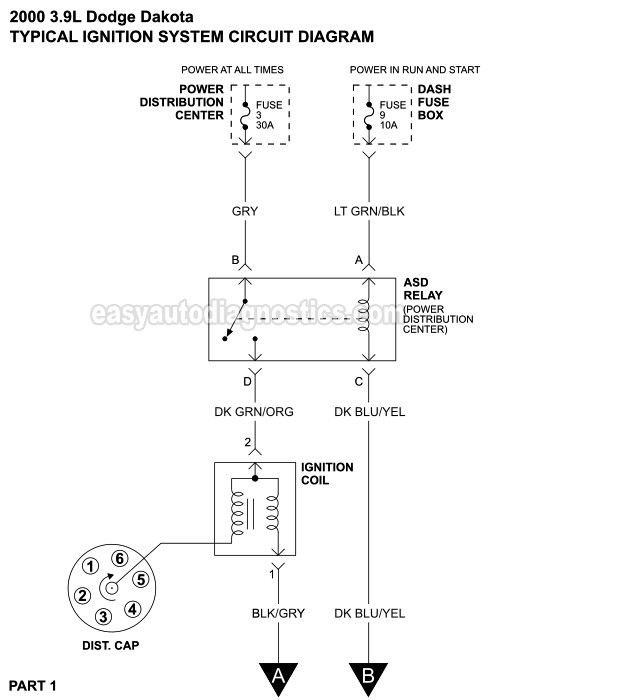 Ignition System Circuit    Diagram     2000 39L Dodge    Dakota