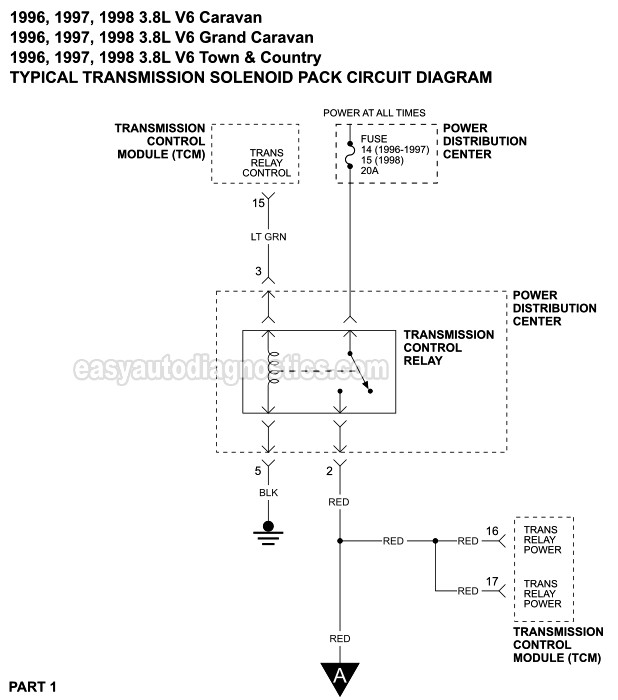 transmission solenoid pack circuit wiring diagram 19961998