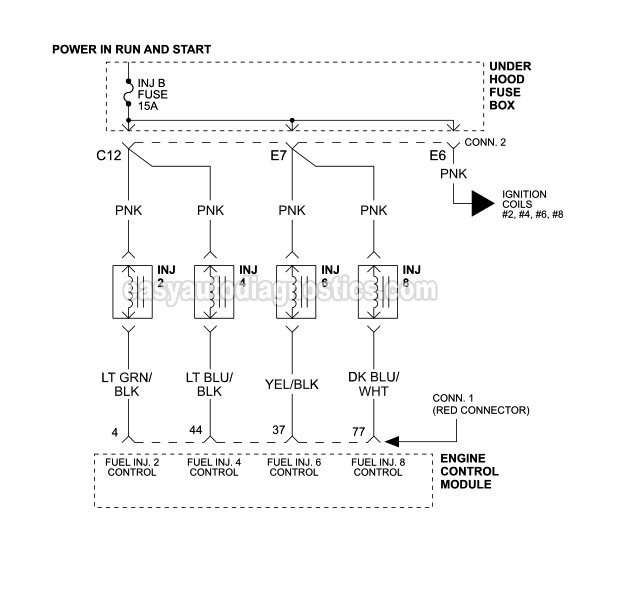 fuel injector circuit wiring diagram 19992002 v8 chevrolet
