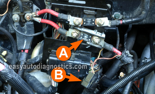 checking the alternator's 20 amp inline fuse (1997-1998 4 6l ford f150)