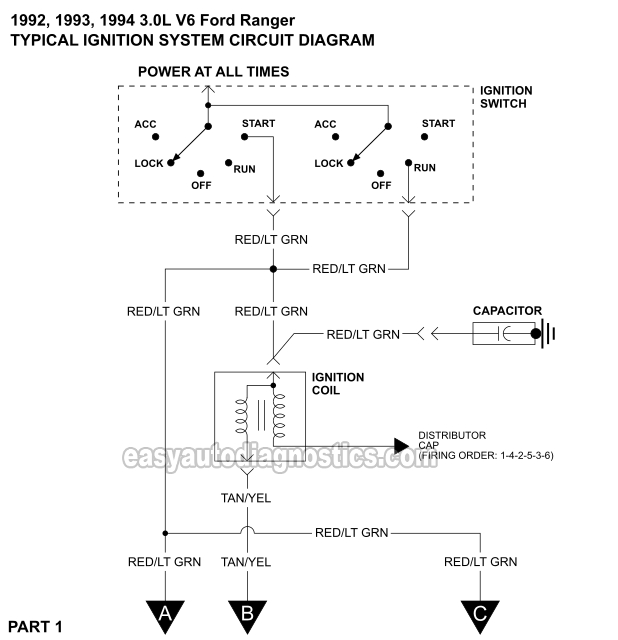 [DIAGRAM_09CH]  Part 1 -1992-1994 3.0L Ford Ranger Ignition Control Module Wiring Diagram | Ford Ignition Switch Wiring |  | Easy Auto Diagnostics