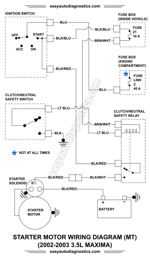 part 2 2002, 2003 3 5l nissan maxima starter motor circuit 2003 Maxima Se Engine Diagram