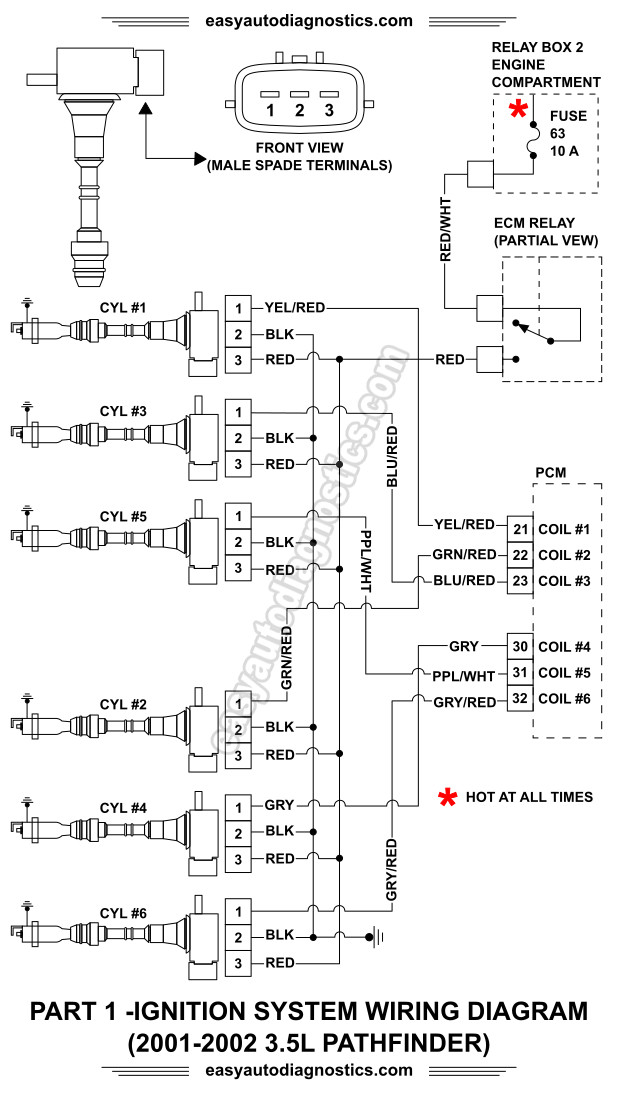 Part 1 -2001-2002 3.5L Nissan Pathfinder Ignition System Wiring Diagram