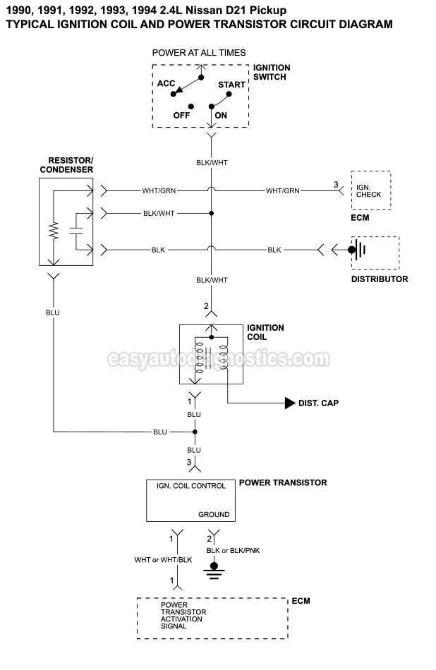 Part 2 -Ignition System Wiring Diagram (1990-1994 2.4L ...  Nissan D Wiring Diagram Pick Up on 1991 nissan maxima wiring diagram, 1991 nissan pickup engine diagram, 1991 nissan hardbody alternator diagram,