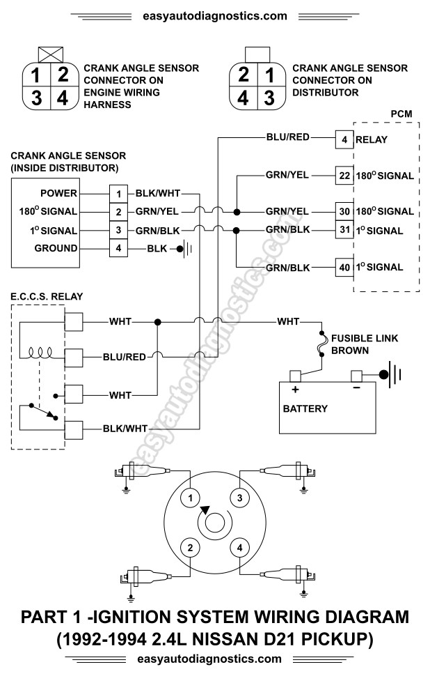 1992 1993 1994 24L Nissan D21 Pickup Ignition System Wiring Diagram Part 1