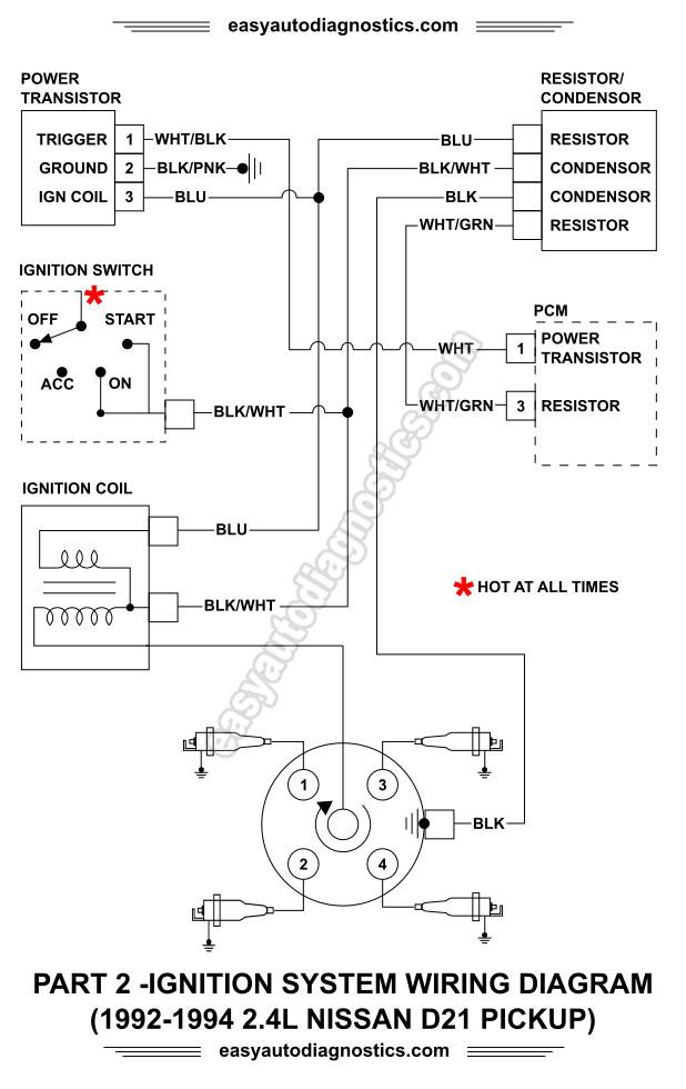 1992, 1993, 1994 2.4L Nissan D21 Pickup Ignition System Wiring Diagram Part 2