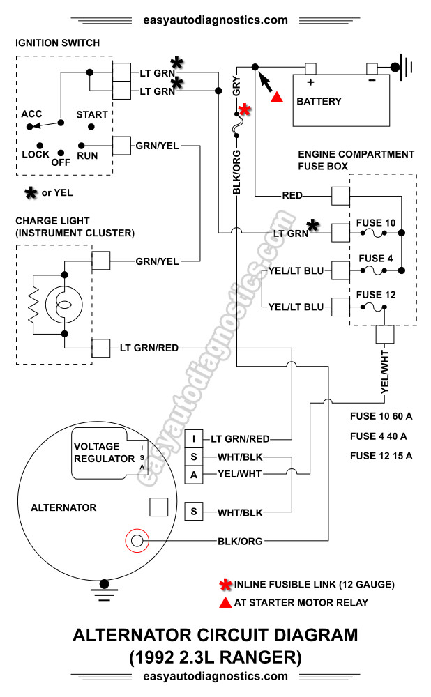 part 1 1992 1994 2 3l ford ranger alternator wiring diagram rh easyautodiagnostics com Ford 3 Wire Alternator Diagram Ford Truck Alternator Diagram