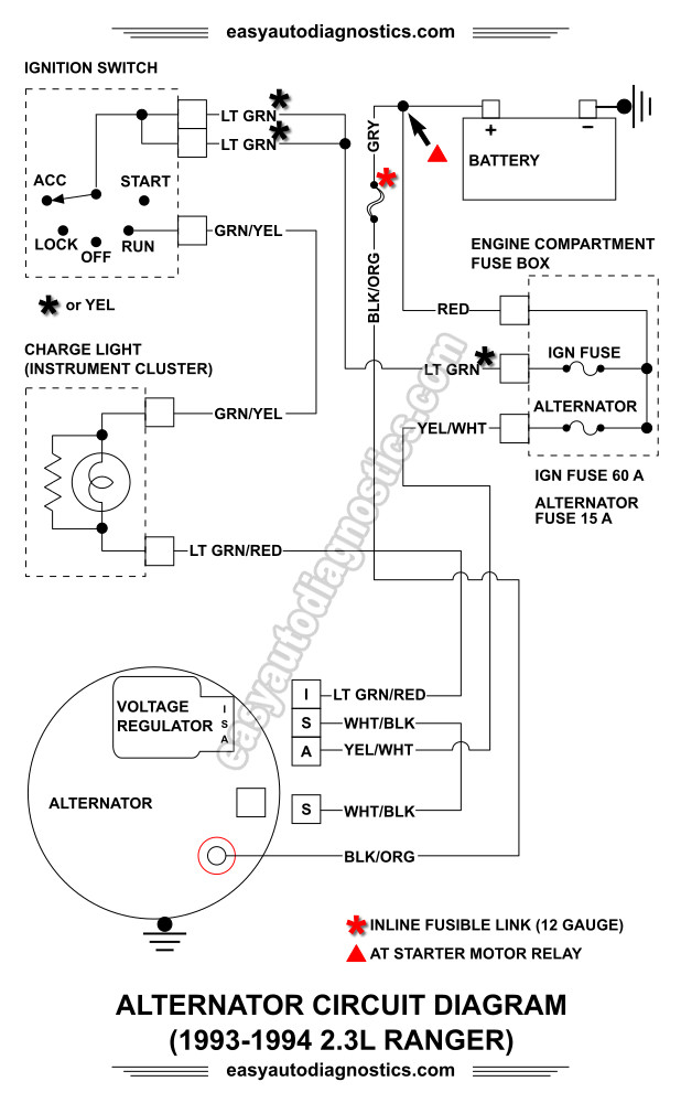 part 2 1992 1994 2 3l ford ranger alternator wiring diagram rh easyautodiagnostics com 1995 Ford Truck Alternator Diagram 1973 Ford F-250 Alternator Diagram