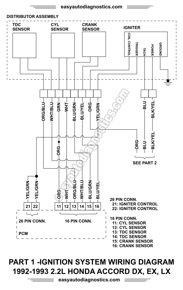 part 1 1992 1993 2 2l honda accord ignition system wiring diagram rh easyautodiagnostics com 1993 honda accord ignition wiring diagram 1993 honda accord headlight wiring diagram