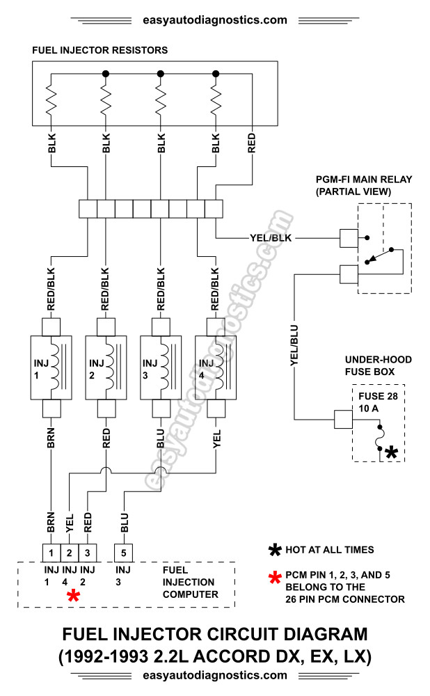 1992, 1993 2 2l honda accord dx, lx, and ex fuel injector circuit