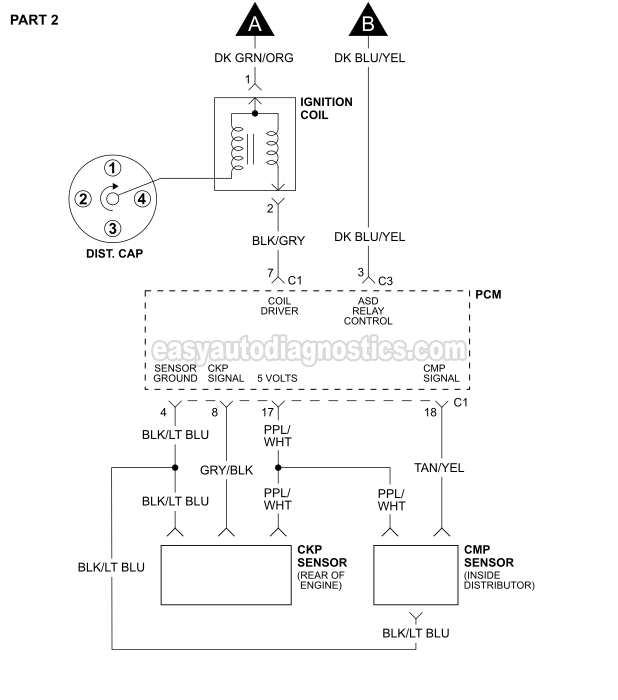 Part 1 -1996-1999 2.5L Dodge Dakota Ignition System Wiring Diagram