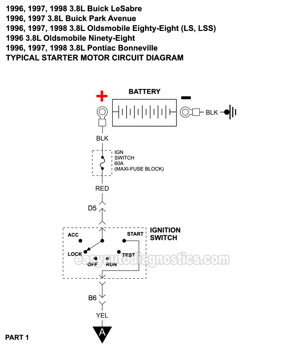 Starter Motor Circuit Diagram (1996-1998 3.8L Buick, Oldsmobile, Pontiac) | 1998 Buick Lesabre Ignition Wiring Diagram |  | easyautodiagnostics.com