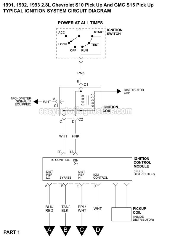 1991 1993 2 8l chevy s10 ignition system circuit diagram rh easyautodiagnostics com 1992 s10 ignition wiring diagram 1992 chevy s10 wiring diagram