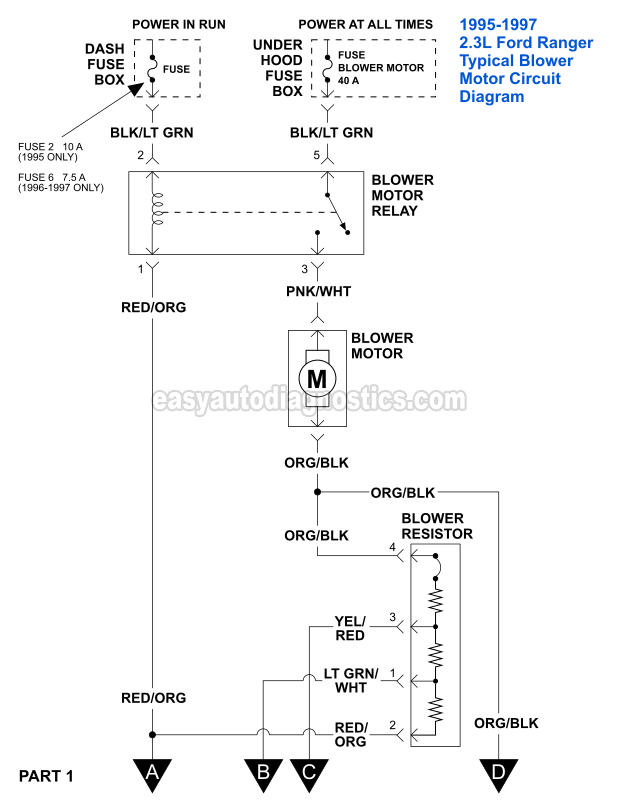 part 1 blower motor circuit diagram 1995 1997 2 3l ford ranger rh easyautodiagnostics com 95 Ford Ranger Vacuum Diagram 95 Ford Ranger Engine Diagram