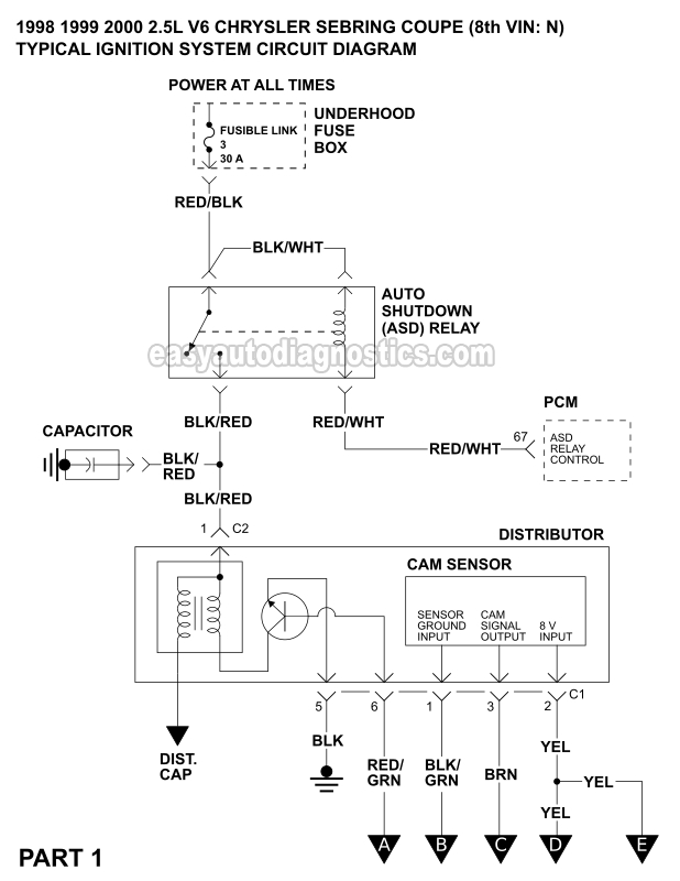 Ignition System Wiring Diagram (1998-2000 2.5L V6 Chrysler ...