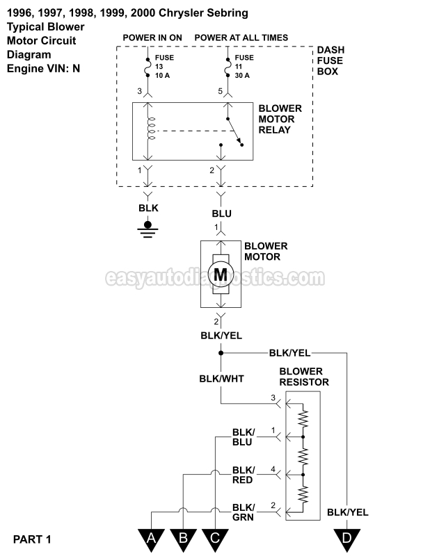 Blower Motor Wiring Diagram (1996-2000 2.5L V6 Sebring And Avenger)easyautodiagnostics.com