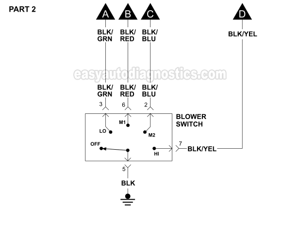 part 2: blower motor, blower resistor, and blower switch circuit diagram  (1996
