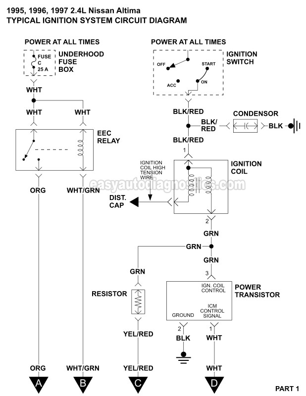 [ZHKZ_3066]  Ignition System Wiring Diagram (1995-1997 2.4L Nissan Altima) | 96 Nissan Distributor Wiring Diagram |  | easyautodiagnostics.com