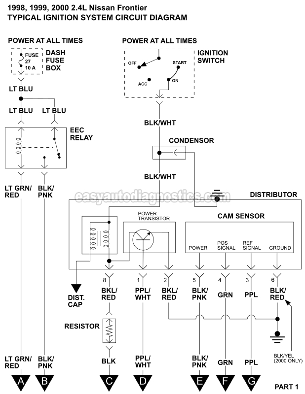 ignition system wiring diagram (1998-2000 2.4l nissan ... 1998 nissan frontier wiring schematic