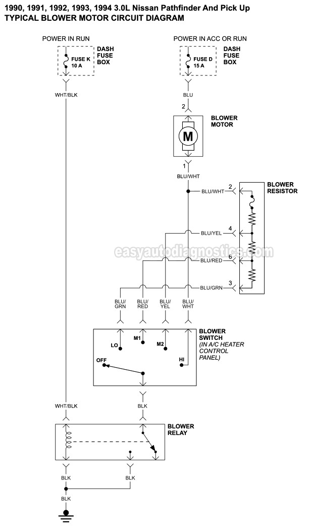 part 1 -blower motor circuit diagram (1990-1995 nissan pathfinder ... heater motor relay wiring diagram car blower motor resistor wiring diagram easyautodiagnostics.com