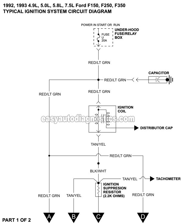 Part 1 -Ford Ignition System Circuit Diagram (1992-1993 4.9L, 5.0L Ford Distributor Plug Wiring Diagram on ford 5.0 flywheel, ford 5.0 belt routing, ford 5.0 valve, ford bronco 5.0 engine diagram, 5.0 engine coolant diagram, ford 4x4 wiring diagram, ford 5.0 parts list, ford 289 wiring diagram, 1986 5.0 engine diagram, 87 ranger engine bay diagram, ford 302 wiring diagram, ford 5.0 bmw, ford 5.0 speedometer, ford 5.0 belt diagram, 2001 f150 5.4 engine diagram, ford 5.0 oil cooler, ford 5.0 firing order diagram, ford 5.0 dimensions, ford 5.0 power steering, f150 5.0 engine diagram,