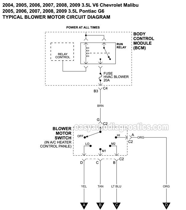 blower motor circuit diagram (2004 2009 3 5l chevy malibu and Diagram 2007 Pontiac G6 Motor diagram 1 blower motor and blower motor resistor circuit diagram (2004, 2005,