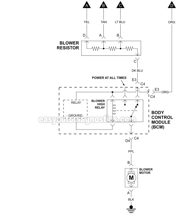 Blower Motor Circuit Wiring Diagram (2006-2007 3.9L Chevrolet Malibu)easyautodiagnostics.com