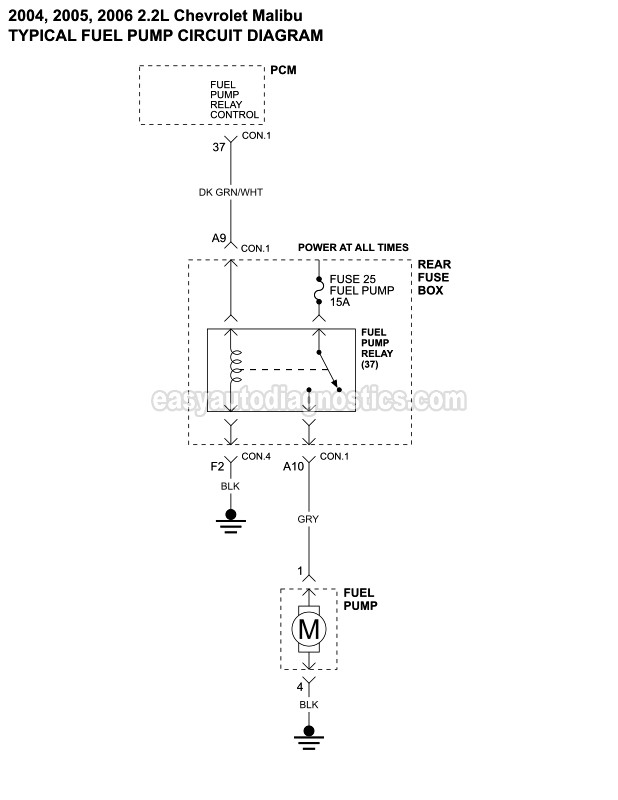 fuel pump wiring diagram (2004 2006 2 2l chevrolet malibu) Malibu Rear Suspension