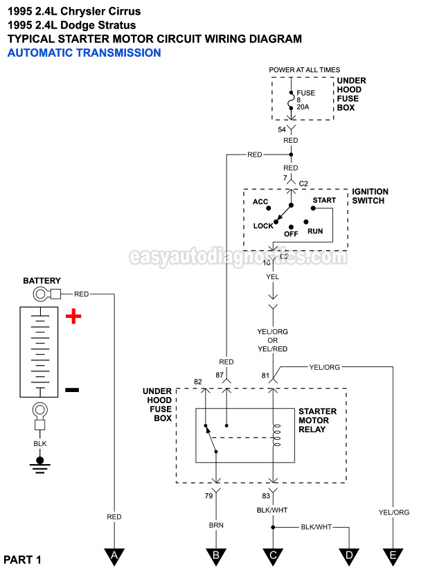 Part 1 Starter Motor Circuit    Wiring       Diagram     1995 24L Cirrus And Stratus