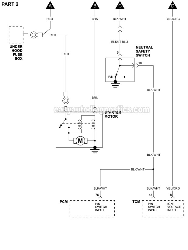 part 1 -starter motor circuit wiring diagram (1996-2000 2.4l cirrus and  stratus)  easyautodiagnostics.com
