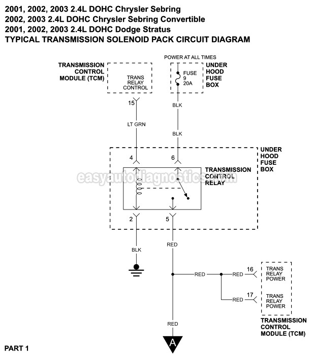 Transmission Solenoid Pack Circuit Wiring Diagram  2001