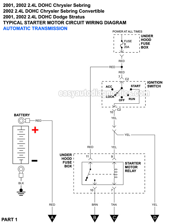 Part 1 Starter Motor Circuit Wiring Diagram 2001 2002 2 4l Sebring And Stratus
