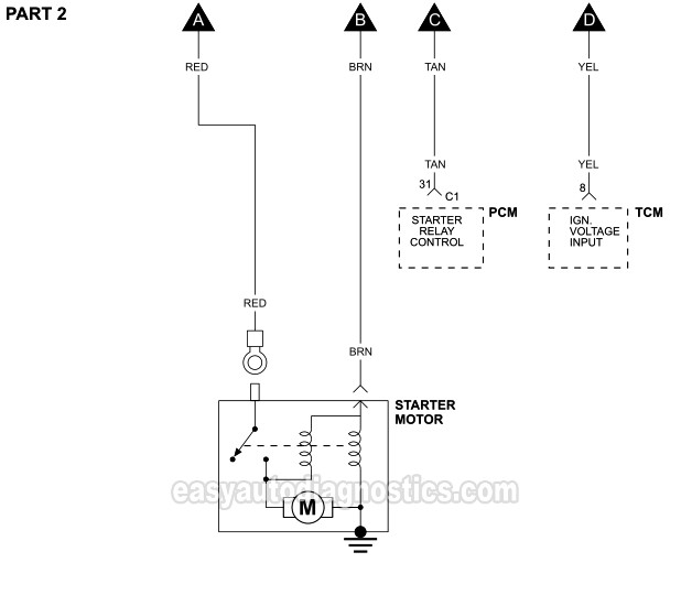part 1 -starter motor circuit wiring diagram (2001-2002 2.4l sebring and  stratus)  easyautodiagnostics.com