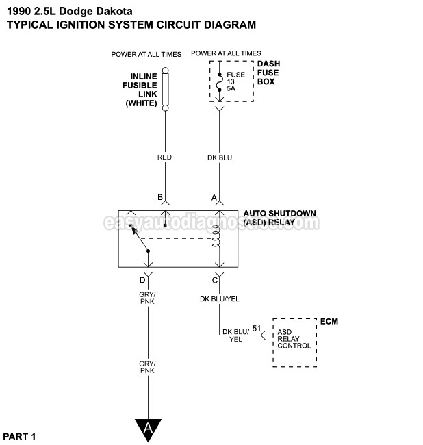 part 1 ignition system wiring diagram (1990 1992 2 5l dodge dakota)part 1 ignition system wiring diagram (1990 2 5l dodge dakota)
