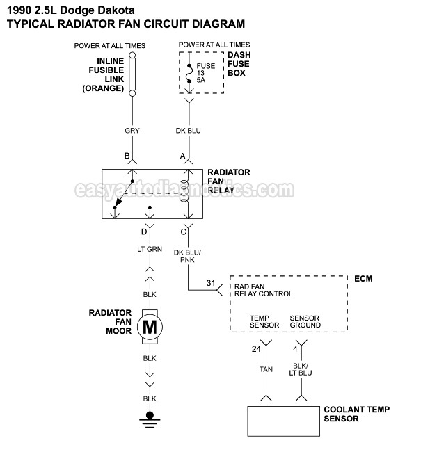 Part 1 -Radiator Cooling Fan Wiring Diagram (1990-1993 2.5L SOHC Dodge  Dakota)easyautodiagnostics.com
